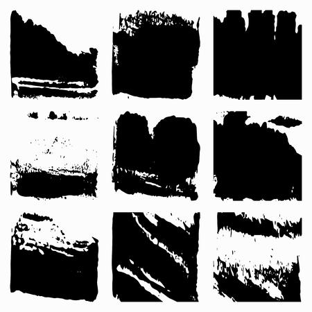 runny: Set Black Grunge Design Element