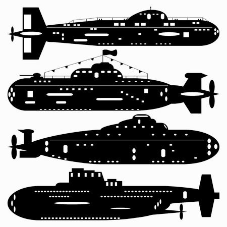 battleship: Navy. A set of paths submarines. Black and white illustration of a white background.