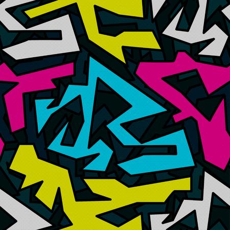 beautiful abstract graffiti seamless pattern on a black background Illustration
