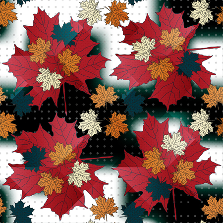 Maple leaf color seamless pattern