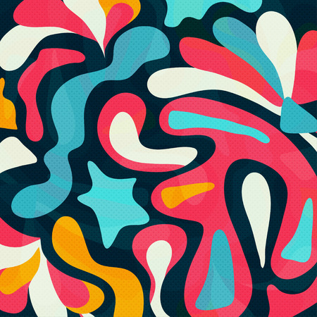 textiles: Colored graffiti abstract pattern on a black background