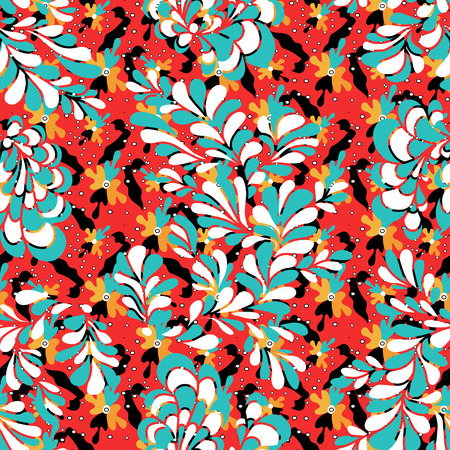 Colored flower petals seamless pattern