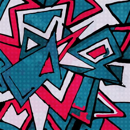 abstract geometric objects graffiti grunge effect Illustration