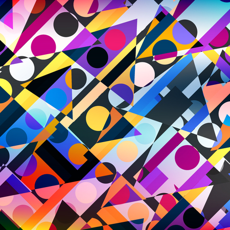 bright colored circles and polygons geometric abstract pattern Illustration