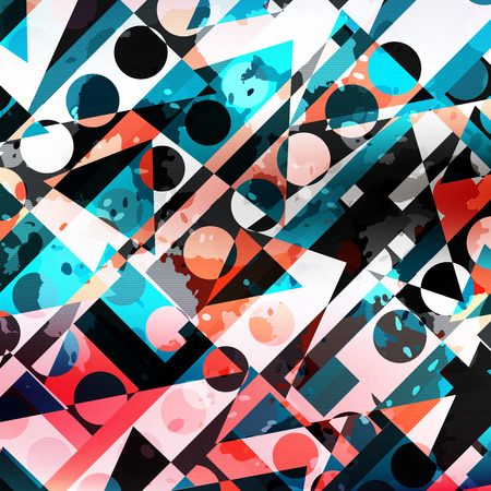 colored circles and polygons geometric abstract pattern Illustration