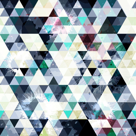 delicate vibrant colored polygons geometric abstract seamless pattern grunge texture