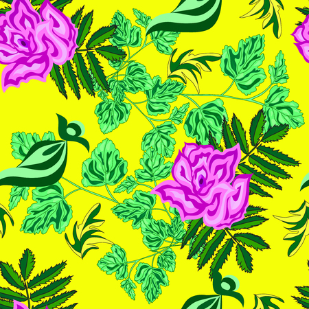 Roses on a yellow background seamless background Иллюстрация