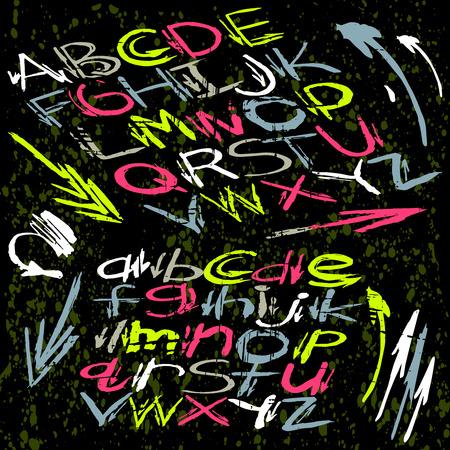 Alphabet font in graffiti style on a dark illustration. Illustration