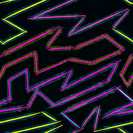 Thin color lines on a black background abstract vector pattern in graffiti style qualitative vector illustration for your design.  イラスト・ベクター素材