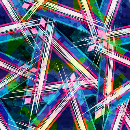Bright abstract geometric seamless pattern in graffiti style. Quality vector illustration for your design