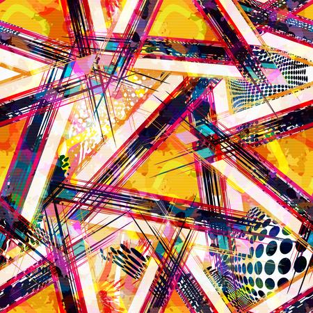 Helles abstraktes geometrisches nahtloses Muster in der Graffitiart. Qualitätsvektorillustration für Ihr Design Vektorgrafik