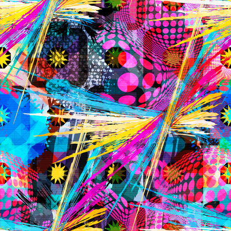 colored abstract seamless pattern in graffiti style. Quality vector illustration for your design
