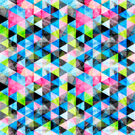bright colored polygons abstract psychedelic geometric background. grunge effect illustration 免版税图像