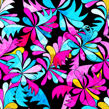 brightly colored abstract flowers on a black background seamless pattern illustration