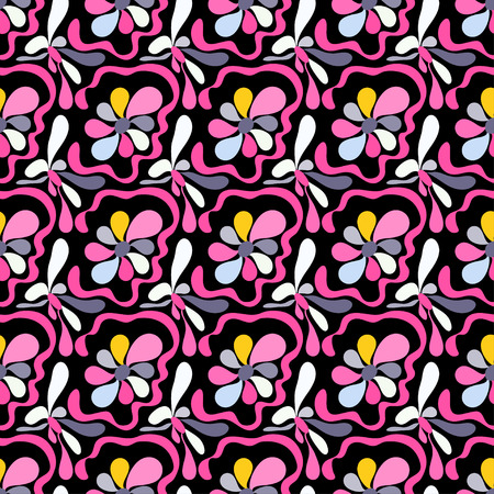 pink abstract flowers on a black background seamless pattern