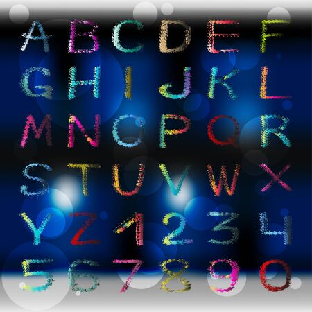 colored graffiti alphabet and numbers on a beautiful color background illustration Archivio Fotografico - 137128698