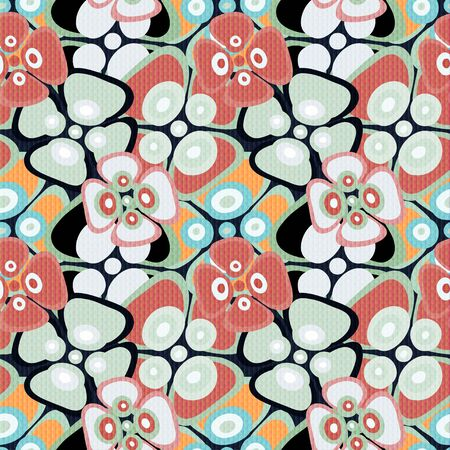 Beautiful abstract delicate flowers seamless pattern Archivio Fotografico - 137128561