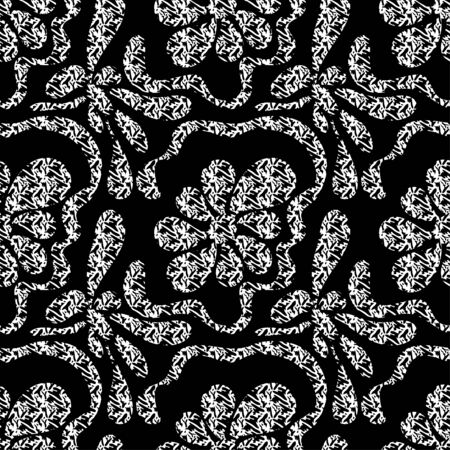 monochrome abstract flowers on a black background seamless pattern Archivio Fotografico - 137128562
