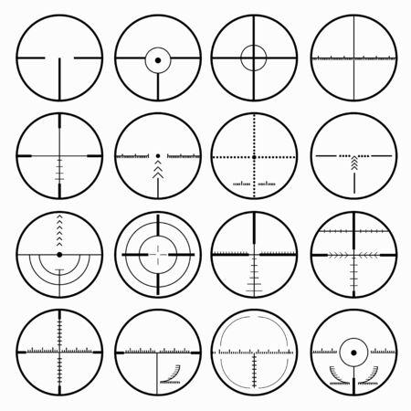 sniper scopes monochrome collection of icons Archivio Fotografico - 137128267