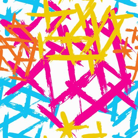 Abstract seamless geometric pattern with city elements frayed sprays triangles neon paint colored high-quality illustration in graffiti style for your design