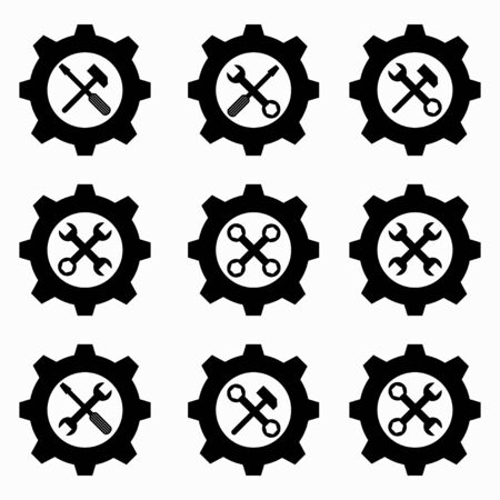 gear and wrenches black icons Archivio Fotografico - 137128017