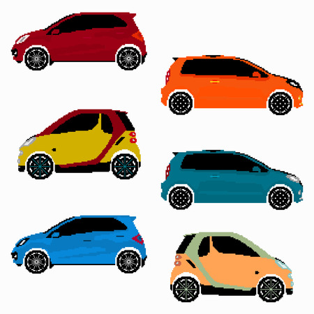 collection of colored cars pixel art