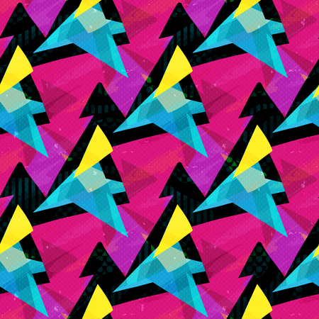 pink blue and yellow triangles on a black background seamless pattern Imagens