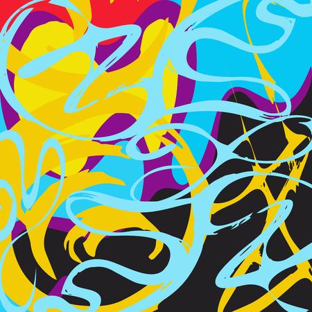 Graffiti abstracto hermoso colorido fondo textura grunge ilustración Ilustración de vector