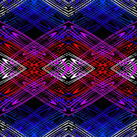 bright colored lines on a black background seamless pattern