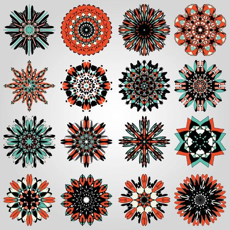 bright colored mandala symbol illustration collection
