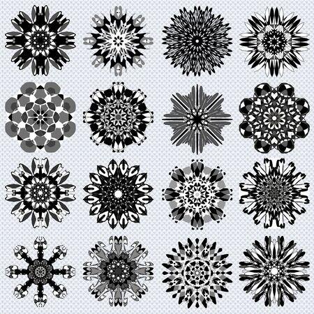 tribal mandala collection of monochrome symbol illustration Banco de Imagens