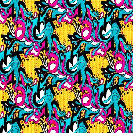 Graffiti bright psychedelic seamless pattern illustration