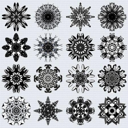 Mandala collection of monochrome symbol illustration