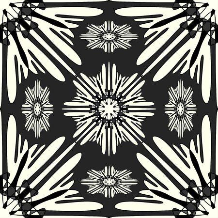 Vintage elements. Monochrome beautiful seamless pattern illustration Banco de Imagens
