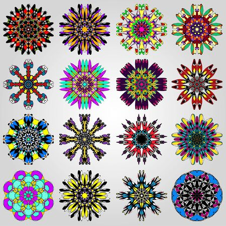 bright mandala symbol illustration collection Banco de Imagens