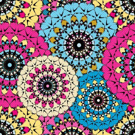Seamless pattern in oriental style colorful ornamental background with mandala elements Islam Arabic Asian motifs