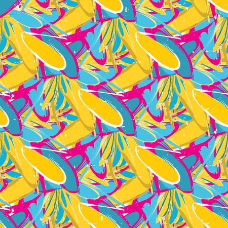 grunge colored graffiti seamless pattern illustration Banco de Imagens