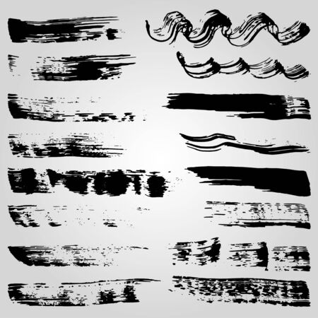 Collection of grunge black ink banners and blots on white background