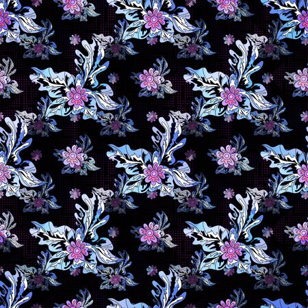 purple small flowers on the black background seamless pattern Stock fotó