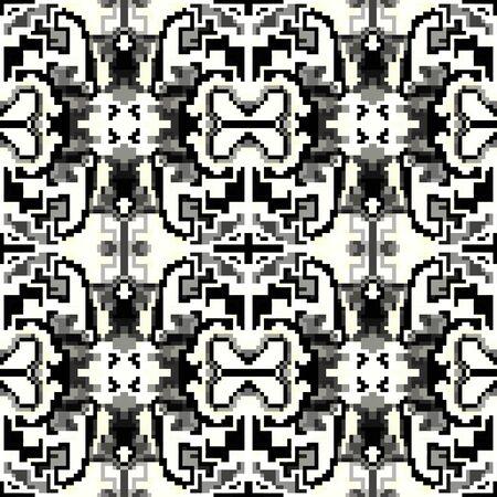 pixel monochrome beautiful seamless pattern illustration