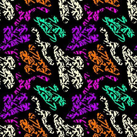 beautiful colored seamless pattern on black background graffiti