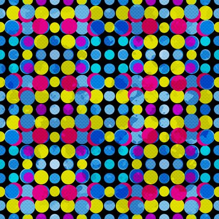 psychedelic circles on a black background. grunge effect illustration.
