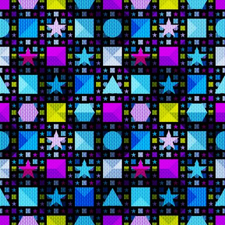 psychedelic geometric objects on a black background seamless pattern illustration