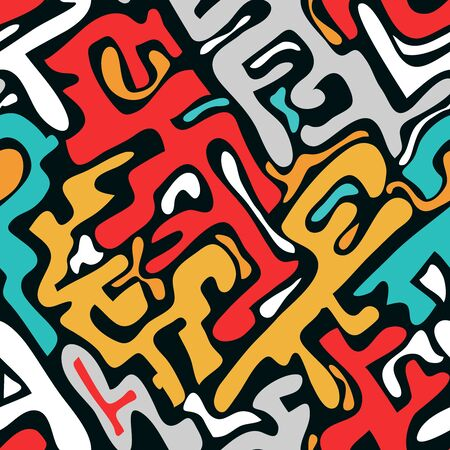 colored abstract seamless pattern in graffiti style. Quality illustration for your design