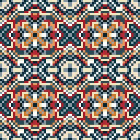 small pixels colored geometric background seamless pattern illustration Фото со стока
