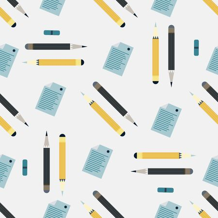 office supplies seamless colored background