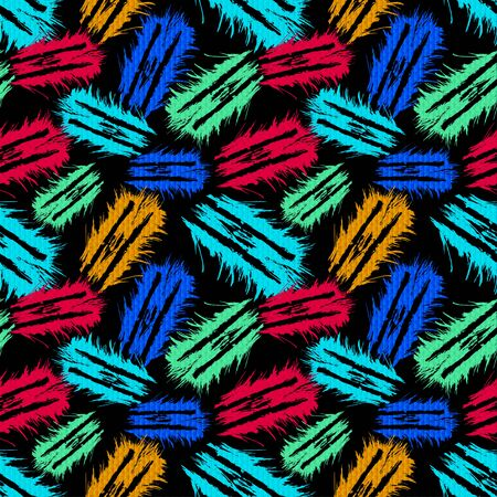 objects abstract graffiti on a black background seamless pattern