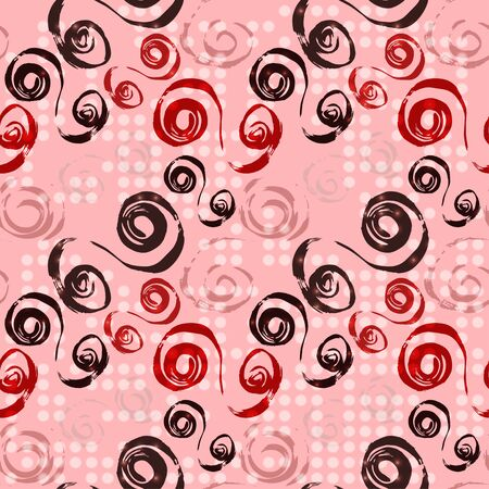 lines and circles on pink background seamless pattern