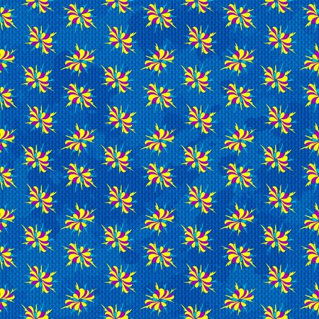 Abstract colored flowers on blue background seamless pattern
