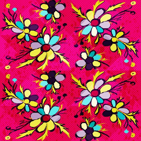 Graffiti abstract flowers on a pink background illustration